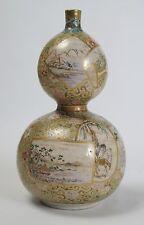A Japanese Kyo-Satsuma double gourd pottery vase c1850