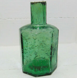 Crude & Bubbly Tall Style Pale Green Octagonal Ink Bottle c1910-15