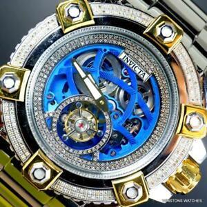 Invicta Grand Octane Automatic Tourbillon 1.6 CTW Diamond 63mm Steel Watch New