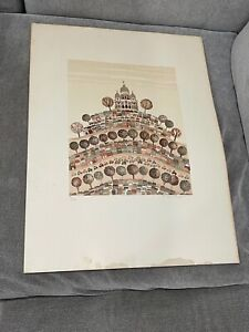 Vintage 1960's French Christine Chagnoux Signed Lithograph Print Montmartre