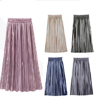 Women Vintage Metallic Long Midi Pleated Skirt Stretch High Waist Casual UK