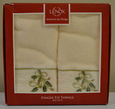 Lenox set of 2 Holiday Ribbon & Holly Ivory 100% cotton finger tip towels $34.00