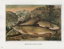 "1972 Vintage Currier & Ives FISHING ""BROOK TROUT CAUGHT"" COLOR Print Lithograph"