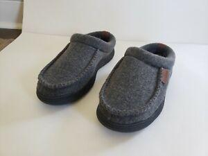Dearfoams Men's Memory Foam Slippers Indoor/Outdoor, GREY, size M 9-10