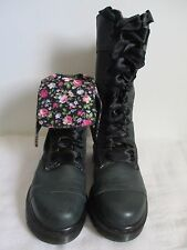 Dr Martens Triumph Boots Womens 1914 12-Eye Dark Green Leather Floral US 7