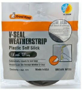 """Thermwell Frost King 7/8"""" x 17', Brown, V-Seal Weather-Strip, Self Stick 2 Pack"""