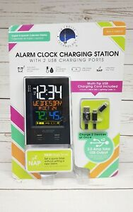La Crosse Color LCD Alarm Clock With 2 USB Charging Ports and Cable