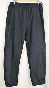 Vintage LL Bean Mens Wind Pants Size Large Black Full Leg Zipper Nylon Outerwear