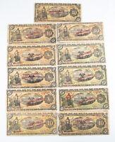 1914 Mexico Peso Notes Lot (11) VF Gobierno Provisional Very Fine 701b 702b 704