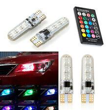 2PCS LED Bulb Car RGB T10 W5W 5050 Remote Control Flash Strobe Wedge Light RT743