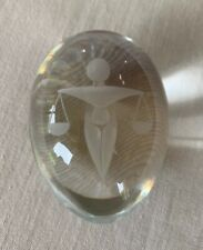 Vintage Etched Law Balancing Scales Crystal Glass Egg Paperweight