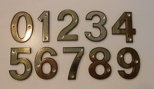 65mm SIGN PLATE HOUSE DOOR NUMBERS NUMERALS - SCREW FIX - POLISHED BRASS/GOLD