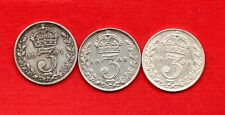 More details for  1907 1908 1909 king edward vii, sterling silver threepence coins. 3 x 3d.