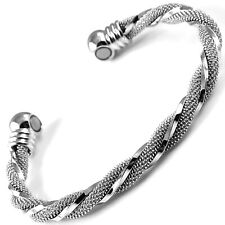 MAGNETIC BRACELET bangle carpal tunnel arthritis pain relief silver 2 MAGNETS
