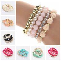 Fashion Women Multilayer Bracelet Rose Rhinestone Bangle Charm Cuff Jewelry New