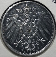 1907-A Germany 1 Mark Silver Coin, XF/AU Condition