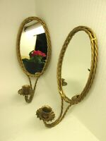 VTG HOMCO Twisted Gold Rope Metal Candle Holder Wall Oval Mirror Sconce Pair