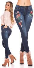 Jeans Größe L mit Blumen-Stickerei - 40 Skinny Sexy Sunny-Fashion