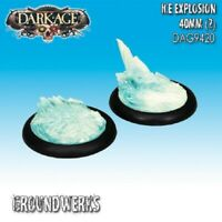Dark Age: Groundwerks Base Inserts - 40mm Clear Ice Explosion (2) - DAG9420