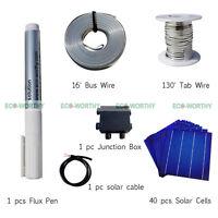 40PC 6x6 Solar Cells KIT DIY 160W Solar Panel w/ Tabbing,Bus Wire, Junction Box