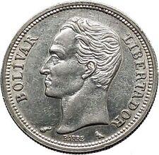 1965 Freemason President Simon Bolivar VENEZUELA Founder Silver Coin i44660