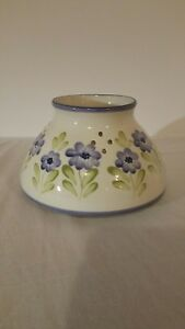 Ceramic candle shade ivory w/purple flowers