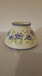 Ceramic candle shade ivory w/purple flowers