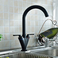 Luxury Black Traditional Twin Lever Kitchen Sink Basin Mixer Tap Swivel - (V0B)