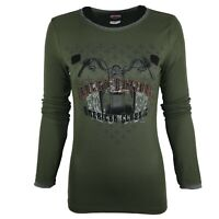 Ladies Girls Glittery Ribbed Cotton L/S Tops T Shirt 52