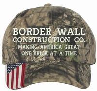Donald Trump Build the Wall Border Construction Company Moss Oak US Flag Hat