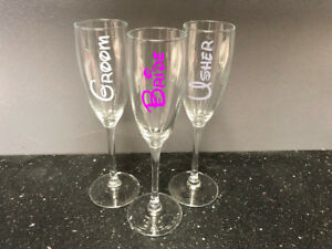 Wedding Flute Glass With Disney Font Prosecco Champagne Wine Bride Groom Etc