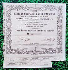 Dépt 07 - Annonay - Très Rare Cie de Navigation Fluviale sur le Rhône de 1860