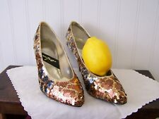 Impo bronze gold silver sequins beaded vintage 80s heels pumps 6-1/2 B - Nice
