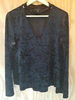 Sanctuary Anthropologie Women's Blouse Top Long Sleeve Velvet Black Color.Size L