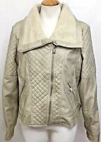 Thinner Womens Moto Jacket Faux Leather Coat Sherpa Beige Distressed 11 Medium