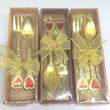 3Set-Spoon-Fork Small Desert Coffee set Bar Kitchen Love Style Vintage Gold