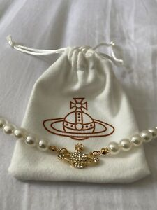 Hot Gold Vivienne Westwood Pearl Necklace Orbit Saturn Pendant CHOKER with pouch