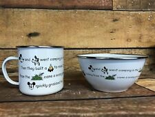 Mickey Mouse Enamel Mug And Bowl - Rare