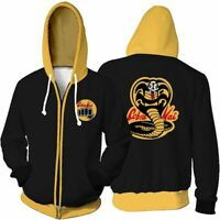 Retro Cobra Kai Mens Karate Kid Inspired Printed Hooded Hoodies Coats Zip Up Hot