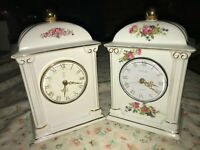 2 Paul Sebastian PS Centurion 1993 Limited Edition White Ceramic Mantel Clocks