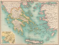 GREECE. Samos & Crete shown as independent. Eastern Aegean as Turkish 1901 map