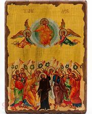 """Wooden Icon Ascension of Jesus Christ Икона Вознесение Господне 12""""x16.5"""""""