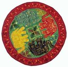"""32"""" GREEN ETHNIC TRIBAL DÉCOR GUJRATI EMBROIDERY WALL HANGING TAPESTRY THROW"""