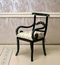 "Black Desk Chair Hand Painted MUSEUM QUALITY DOLLHOUSE FURNITURE 1/12 1"" Scale"