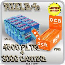 3000 Cartine OCB ORANGE CORTE ARANCIONI + 4500 Filtri RIZLA SLIM 6mm + ACCENDINO