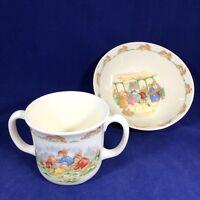 Royal Doulton Bunnykins Cereal Bowl and 2 Handled Cup Peter Rabbit Nursery Set