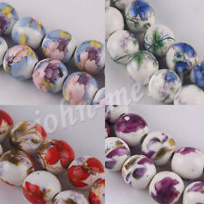 Lots 10/20Pcs Ceramic Printing Stained Glass Art Round Spacer Beads 10mm NEW