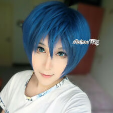 Stylish Mixed Navy Blue Wavy Style Women Men Anime Cosplay Wig With Free Wig Cap