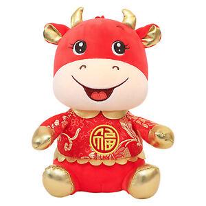 Ox Cattle Plush Toys Mascot Chinese Zodiac 2021 Year Present PP Cotton Doll
