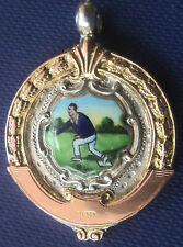Silver & Gold  Enamel Medal / Fob / Pendant -  Bowling / Bowls 1934 Chester